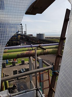 View from the steel plant onto the seaside