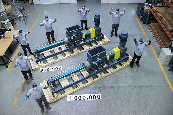NETZSCH ships its 1,000,000th pump: NEMO® progressing cavity pump with hopper and integrated aBP® module
