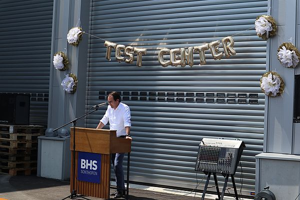Dennis Kemmann, Managing Director of BHS-Sonthofen, at the grand opening of the new test center