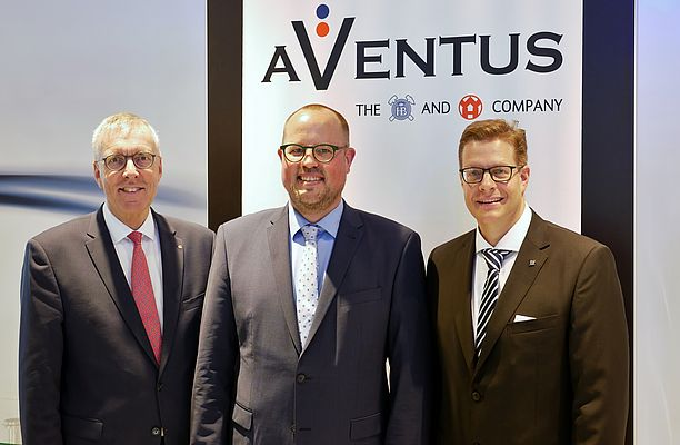 Dr. Jürgen Vutz (CEO Windmöller & Hölscher), Kai Lammers (Managing Director Aventus) and Florian Festge (Managing Partner Haver & Boecker) announced the foundation of AVENTUS at the press conference during ACHEMA