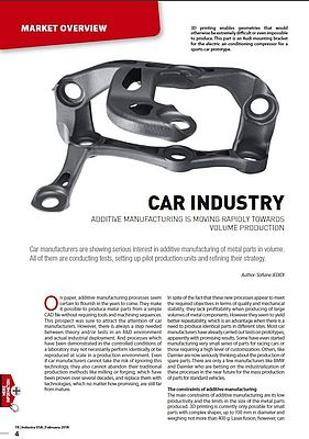 Additive Manufacturing and Car Industry Move Towards Volume Production