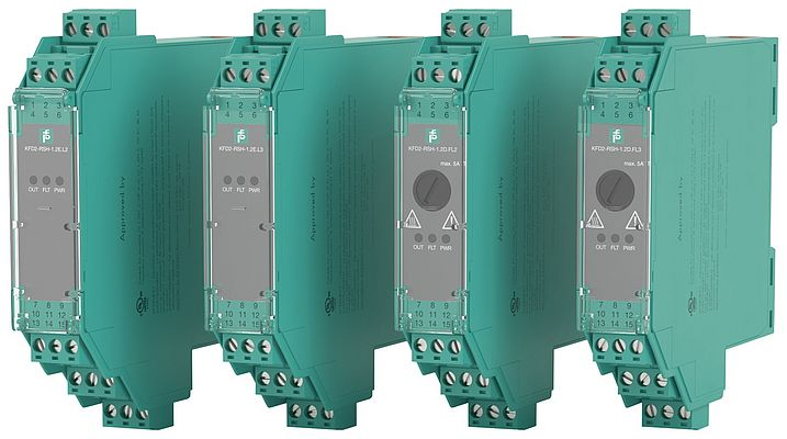 Safety relay with diagnostics and lift - for safe switching on and off