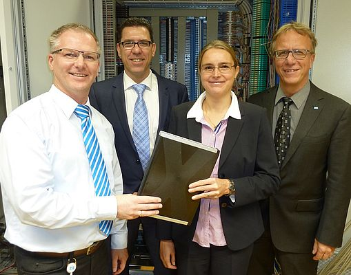 From left to right: Karl-Heinz Gerdes (HIMA Product Manager), Udo Brestrich (HIMA Purchasing Manager), Sophie Bothe (Process Automation Sales Director Germany at Pepperl+Fuchs), and Hartmut Leistner (HIMA Sales Manager Germany, Austria & Switzerland)