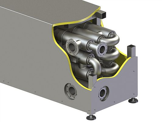 Multiple DTR Series heat exchangers can be mounted together in a frame for larger installations