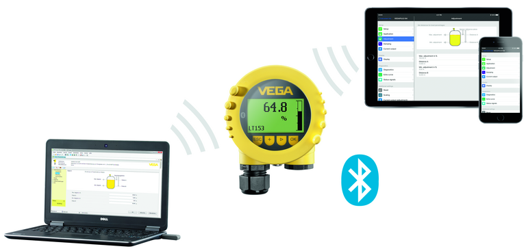 VEGA wireless Bluetooth adjustment for all plics® sensors from 2002